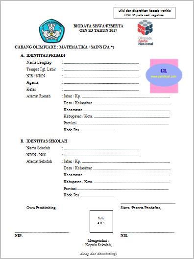 Formulir Pendaftaran Peserta Olimpiade Osn Sd Guru Loyal