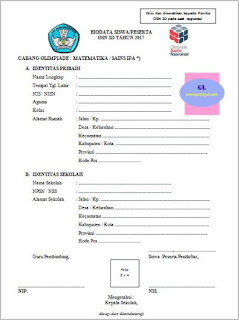 formulir pendaftaran peserta olimpiade (osn) matematika-ipa sd