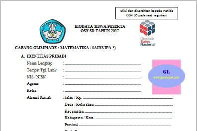Formulir Pendaftaran Peserta Olimpiade (OSN) SD