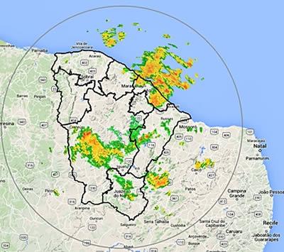 Funceme prevê chuvas nas próximas 48h em todo o Estado