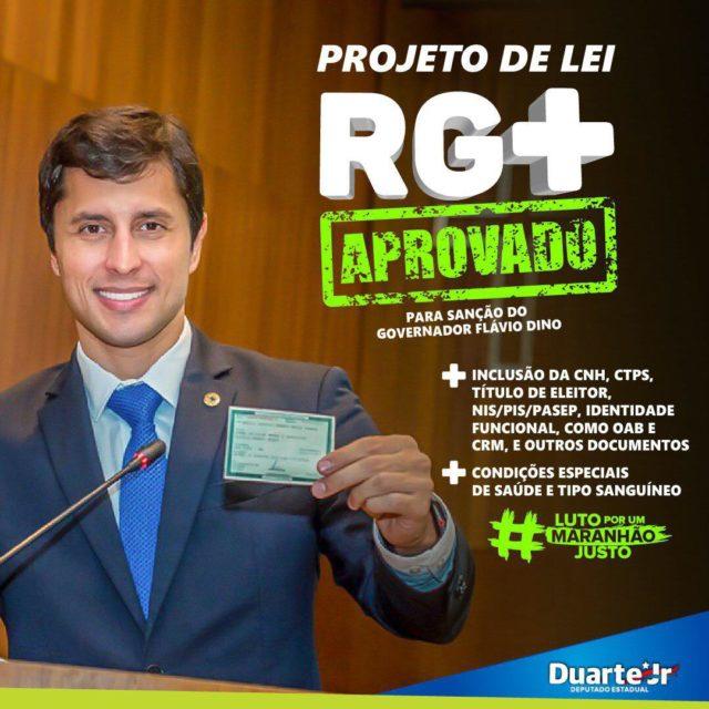 Duarte Jr. aprova seu primeiro projeto de lei na Assembleia, o RG+