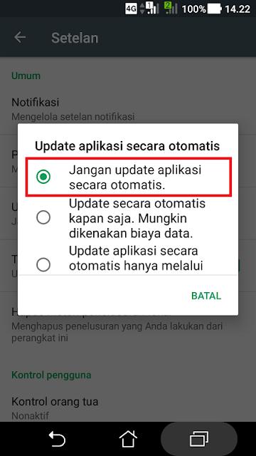 Cara menonaktifkan auto update aplikasi android tahap 4
