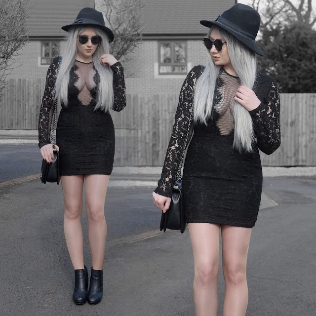 Sammi Jackson - Primark Fedora / Zaful Sunglasses / Tobi Raven Netted Lace Bodycon Dress / OASAP Quilted Flap Bag / Office Chunky Ankle Boots