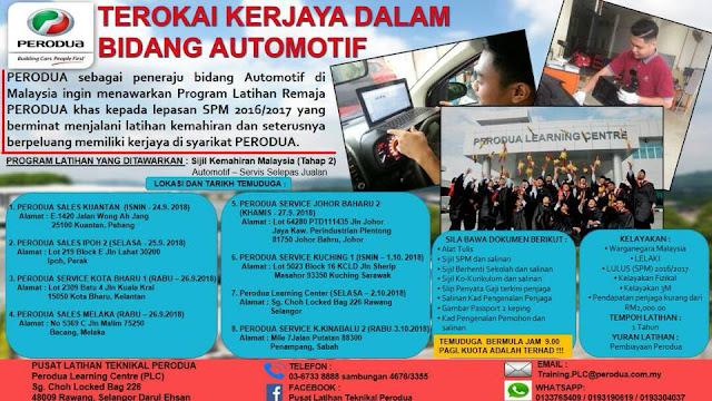 PERODUA Youth Training Program (SKM Tahap 2 Automotif)