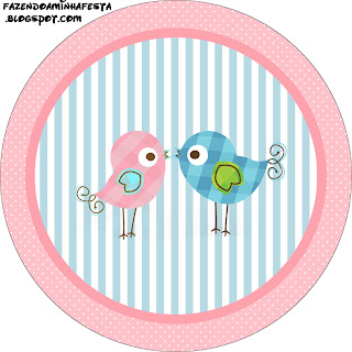 passarinhos azul e rosa kit completo com molduras para convites