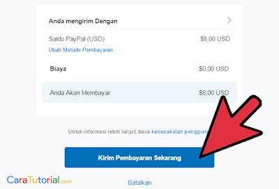 Gambar total rincian pembayaran paypal