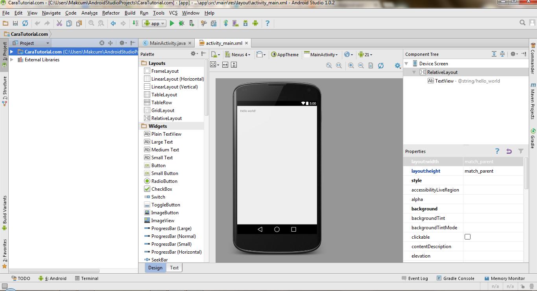 Tampilan Project Baru Aplikasi di Android Studio