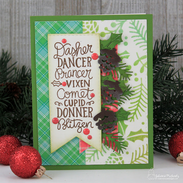 Reindeer Christmas Card by Juliana Michaels featuring Reindeer Roll Call Stamp Set by Newton's Nook Designs