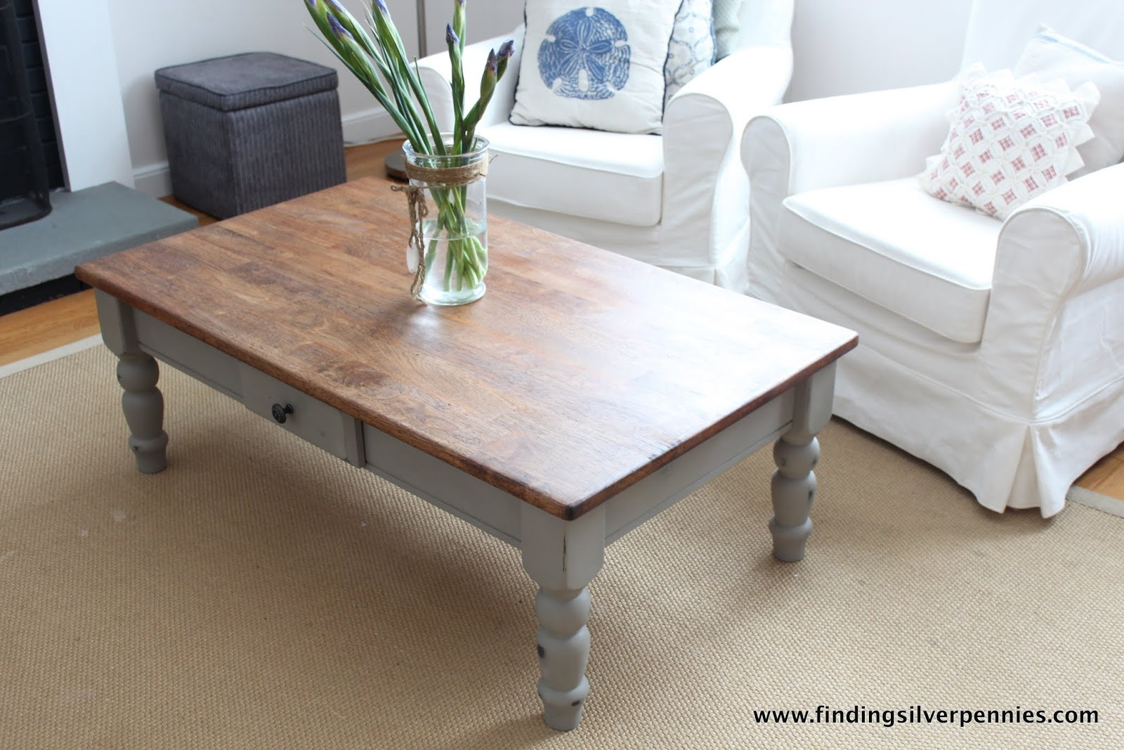 French Linen Coffee Table Finding Silver Pennies