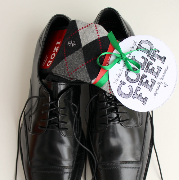 This cute groom's gift with dress socks and shoes is funny.