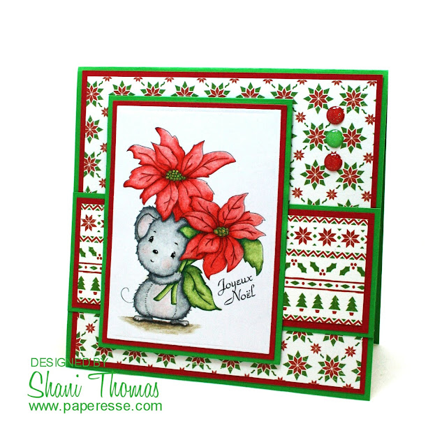 Christmas card featuring Di's Digi Stamps Poinsettia Mouse, by Paperesse.