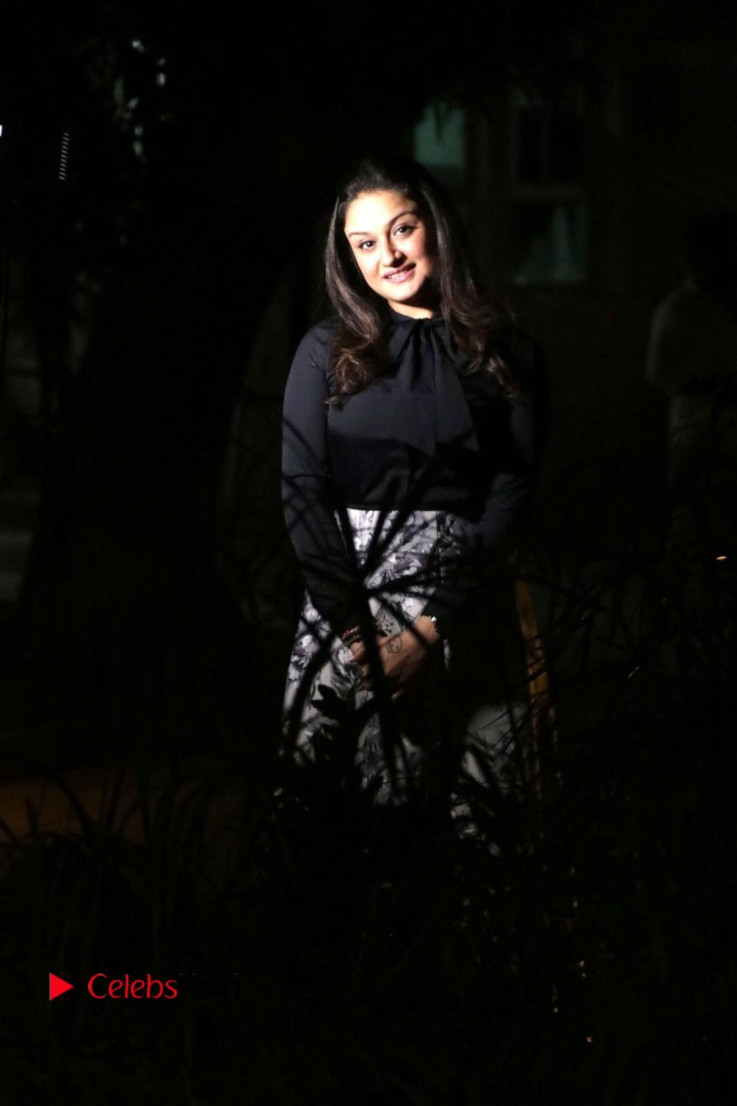 Sonia Agarwal Stills in Black Top at Yevanavan Tamil Movie Audio Launch Event
