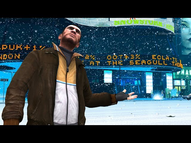 شاهد بالفيديو الثلوج تغمر مدينة Liberty City في لعبة GTA IV في مشهد رائع جدا …