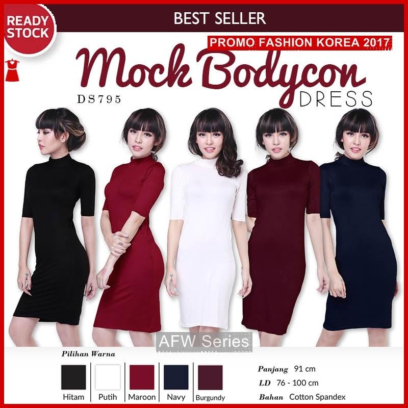 BAMFGW021 Mock Turtleneck Dress Wanita PROMO
