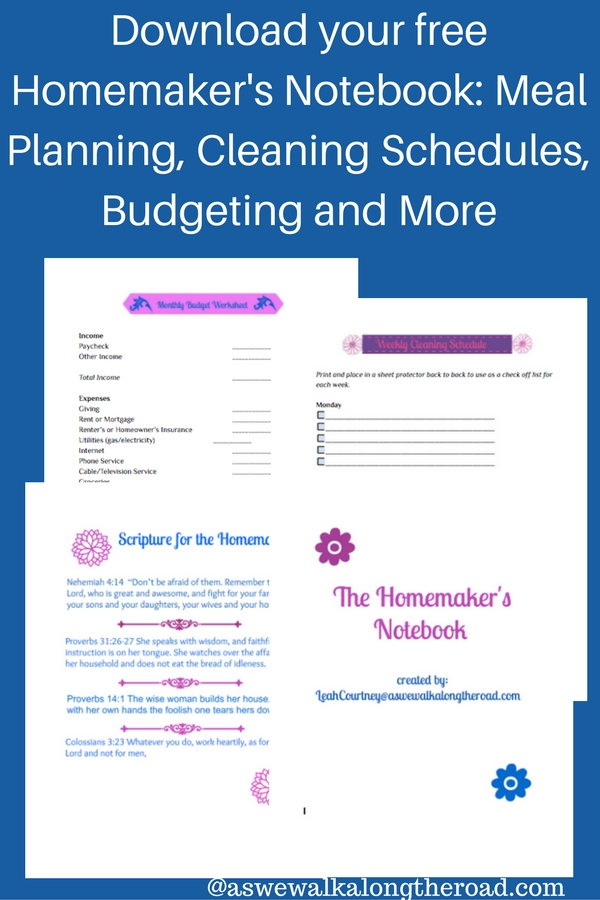 Free homemaking notebook