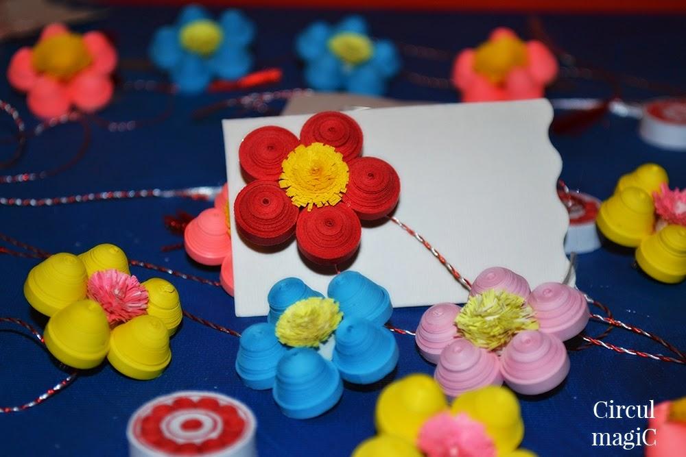 Martisoare quilling: Flori de primavara Circul Magic