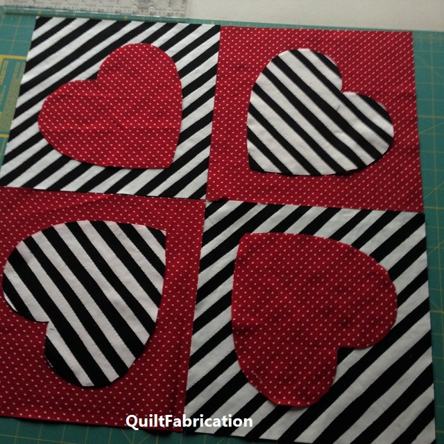 improv stripes and hearts wall hanging