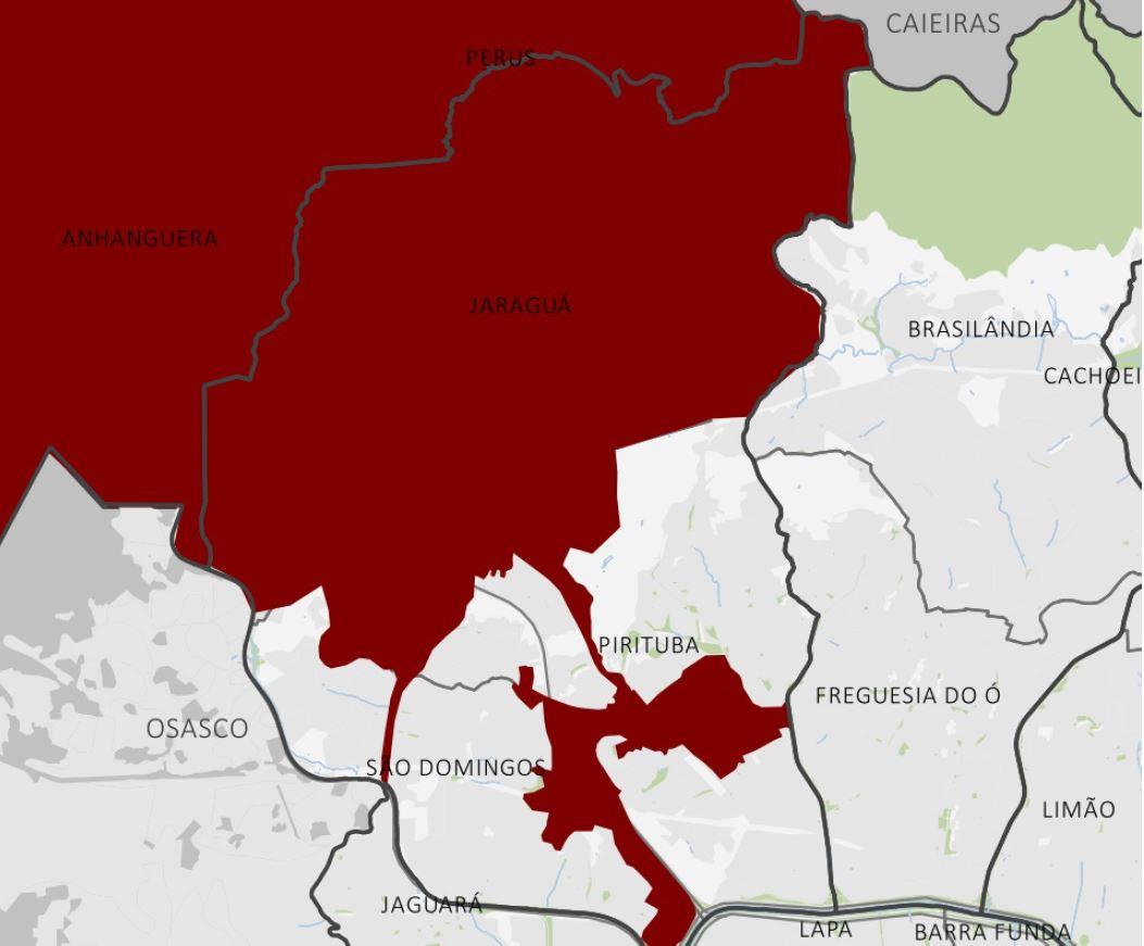 Mapa 1: Área do TICP-PJ (2016). Fonte: Prefeitura de São Paulo