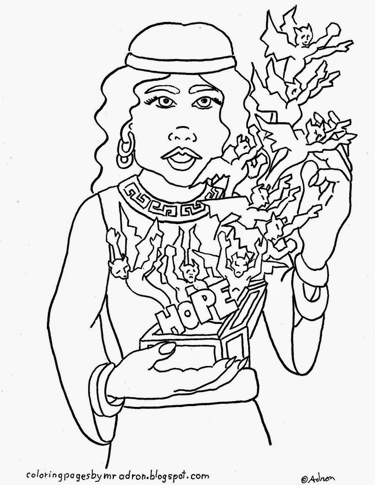 free printable coloring page of Pandora and the box of evil