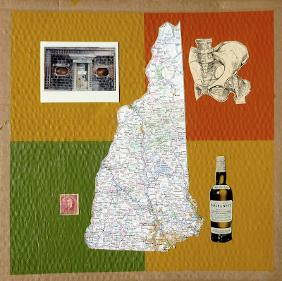 map postage stamp polaroid flag collage