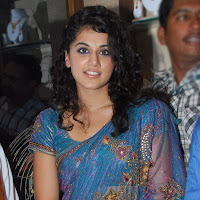 Tapsee in blue designer saree