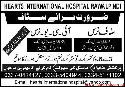 Hearts International Hospital Rawalpindi Jobs 2020