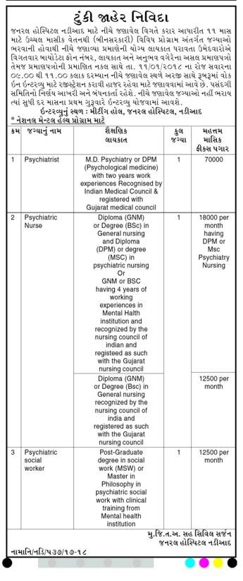 General Hospital Nadiad Recruitment for Psychiatrist, Nurse
