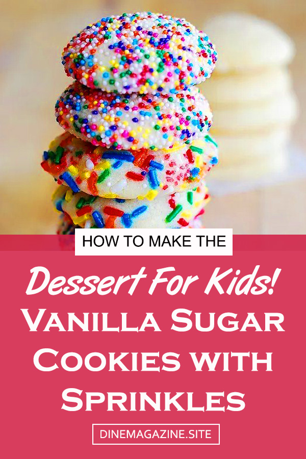 Vanilla Sugar Cookies with Sprinkles Recipe | Dessert Recipes Cookies, Dessert Recipes Easy, Dessert Recipes Healthy, Dessert Recipes For A Crowd, Dessert Recipes For Parties, Dessert Recipes For Kids, Dessert Recipes For Family, Dessert Recipes Low Carb, Dessert Recipes Gluten Free #dessert #vanilla #sugarcookies #cookies #kidsfood #foodforkids #easydessert #easycookies #cookiesrecipe