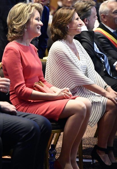 Queen Mathilde wore a pink dress which she had firstly worn in 2016