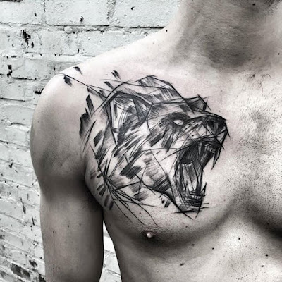 bear tattoo chest