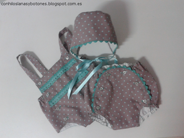 conhiloslanasybotones.blogspot.com.es - conjunto bebé topitos agumarina
