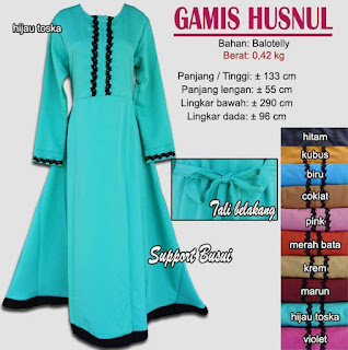 Gamis balotelly simple hiasan renda-husnul