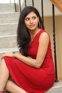 Mounika Telugu Actress in Red Sleeveless Dress Black Boots Spicy Pics 058.JPG