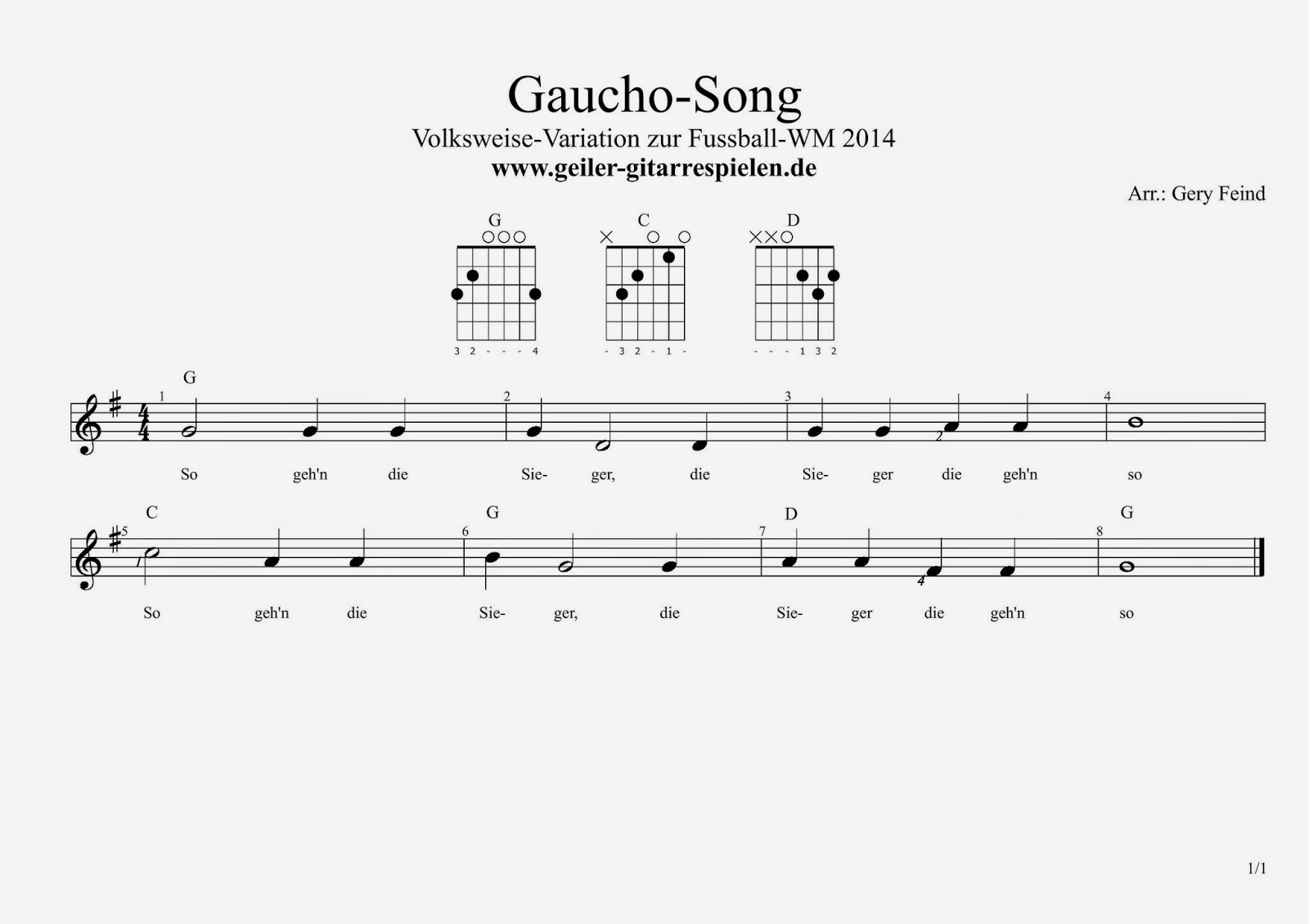 Gaucho Song aka 10 kleine Negerlein | Einfach geiler Gitarre spielen!