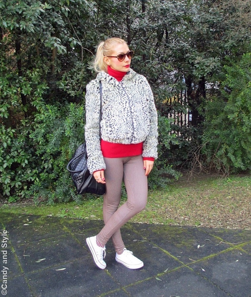 FauxFurJacket+RedTurtleneck+BeigeJeggings+WhiteSneakers+BlackTote+RedLips+HighPonytail - Lilli Candy and Style Fashion Blog