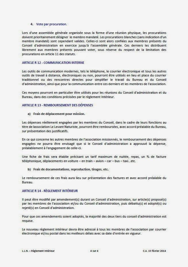 Le levant naturiste ile du levant r glement int rieur for Reglement interieur association pdf