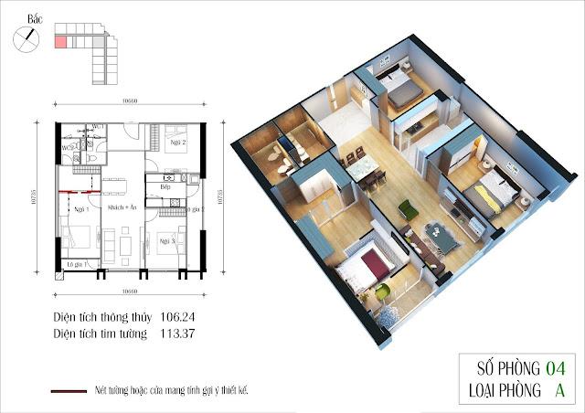 Thiết kế căn 04 tòa CT2 Eco Green City