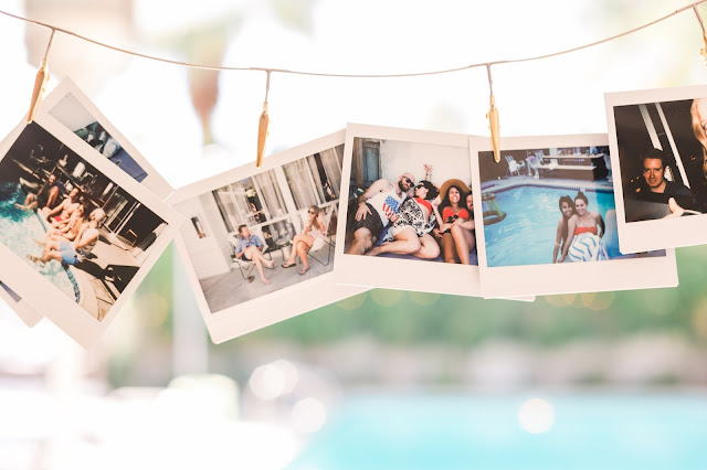 polaroid pictures, 30th birthday pool party ideas