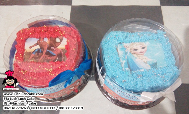 Mini Cake Souvenir Spiderman dan Frozen