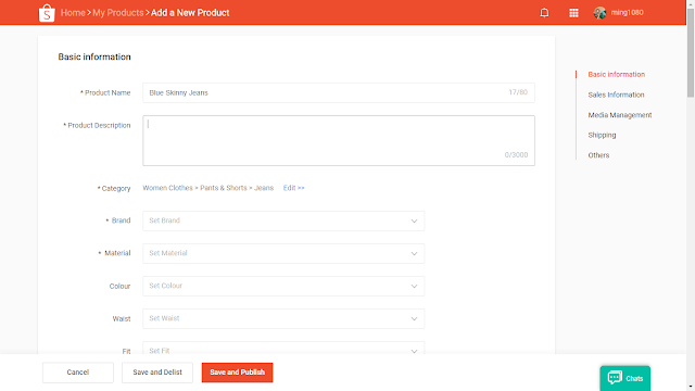 Shopee fill-up product details via desktop