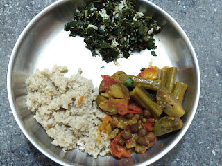 Barnyard millet (Kuthiraivaali) rice, Drumstick Brinjal Sprouted Chickpeas curry, Moringa greens poriyal