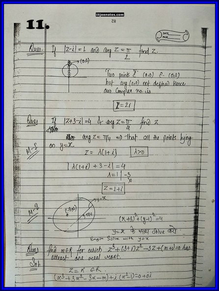 iitjee notes on complex number 11