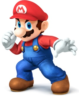 Dibujo de Mario Bros listo para actuar y a colores