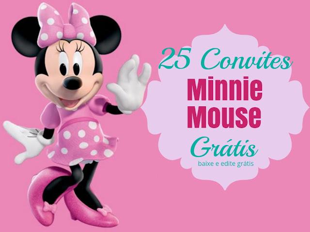 Convites da Minnie Mouse para baixar e editar grátis