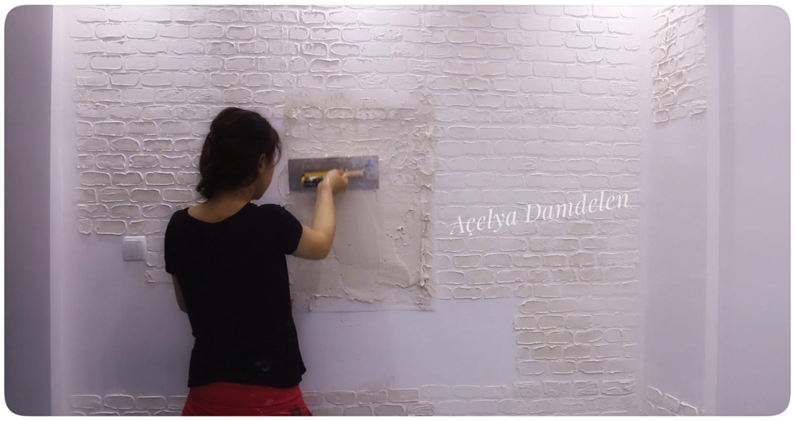 Alçı Ile Tuğla Görünümlü Dekoratif Duvar Yapılışı Beyaz Mucizeler