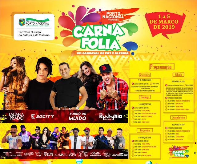 programação do carnaval 2019 de porto nacional tocantins