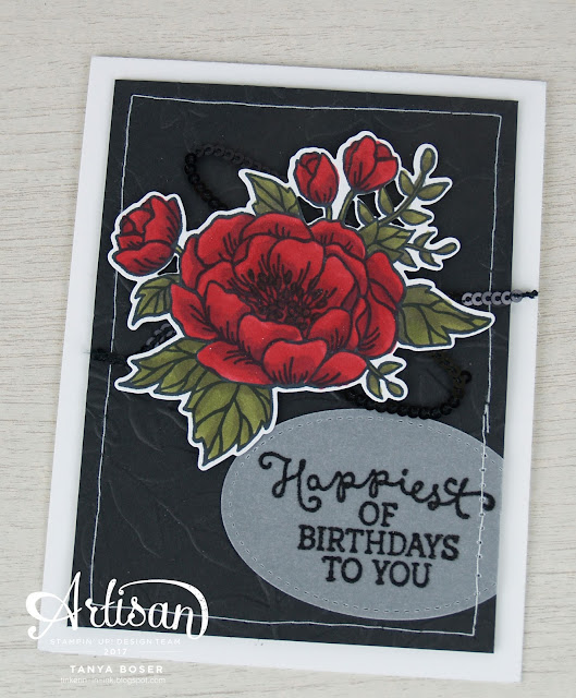Birthday Blooms and Stampin' Blends from Stampin' Up! make a lovely December birthday card- Tanya Boser