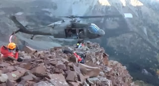 A helicopter rescue on the Maroon Bells