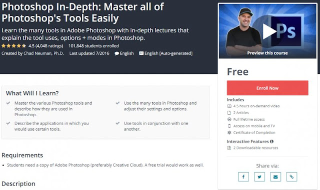 [100% Free] Photoshop In-Depth: Master all of Photoshop's Tools Easily