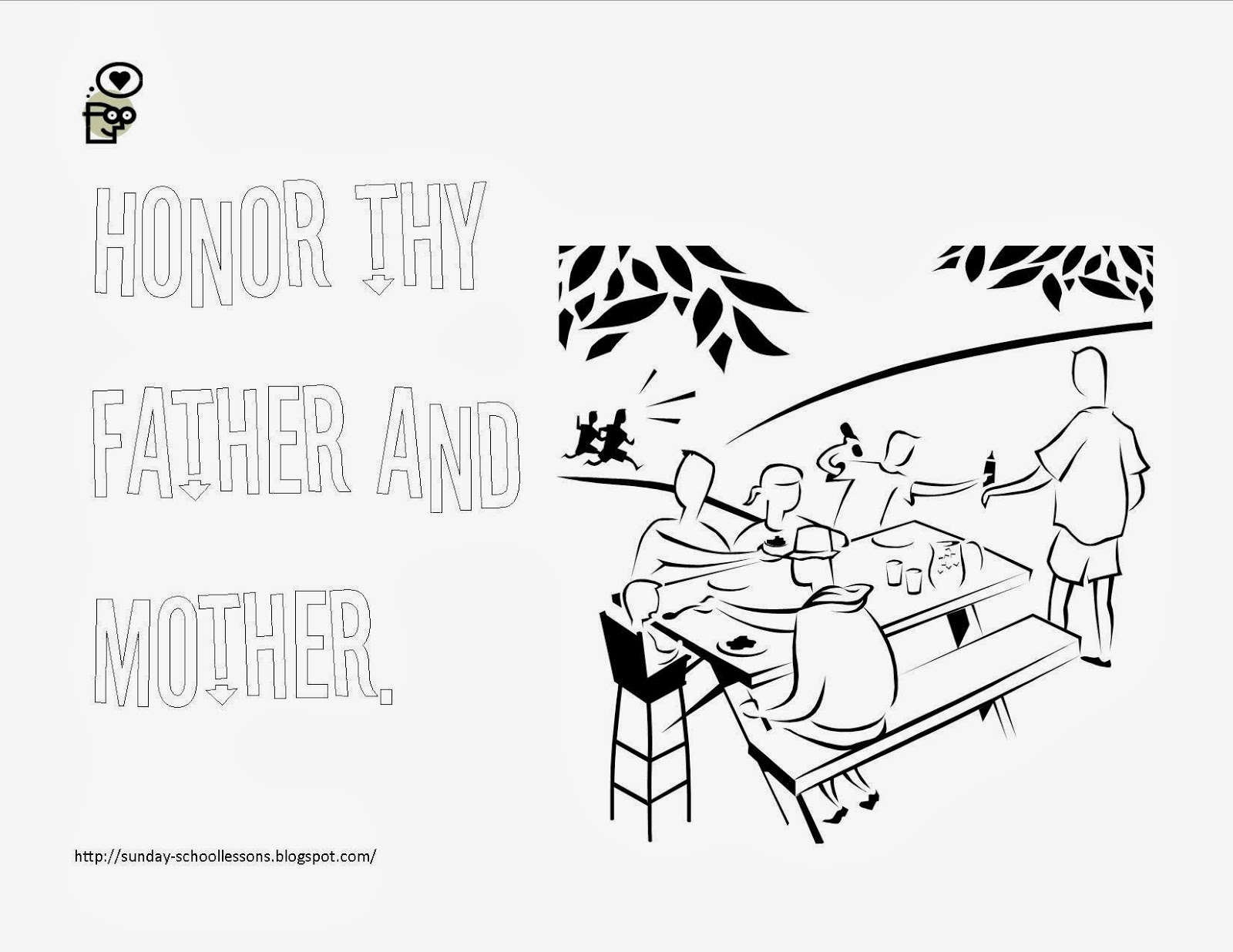 10 Commandment Coloring Page - Number Five ~ Sunday School ...